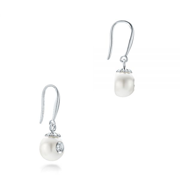 Fresh White Pearl And Diamond Earrings - Front View -  102575