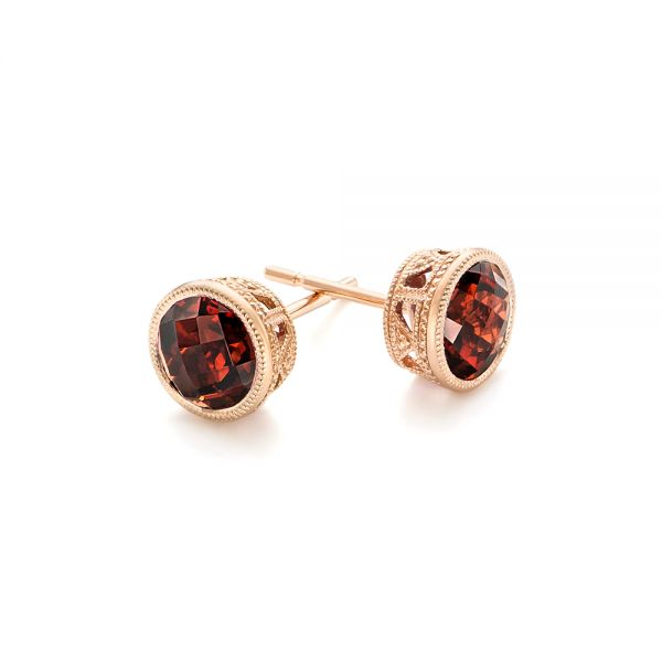 Garnet Stud Earrings - Front View -