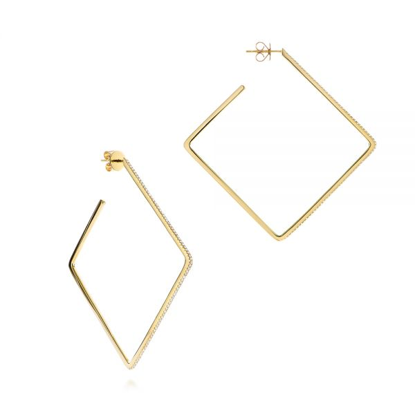14k Yellow Gold Geometric Square Diamond Hoops - Front View -