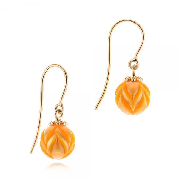 Golden Pearl Tulip Earrings - Flat View -  103248 - Thumbnail