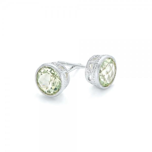 Green Quartz Stud Earrings - Laying View
