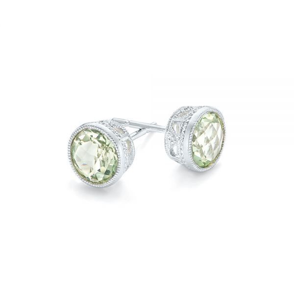 Green Quartz Stud Earrings - Front View -