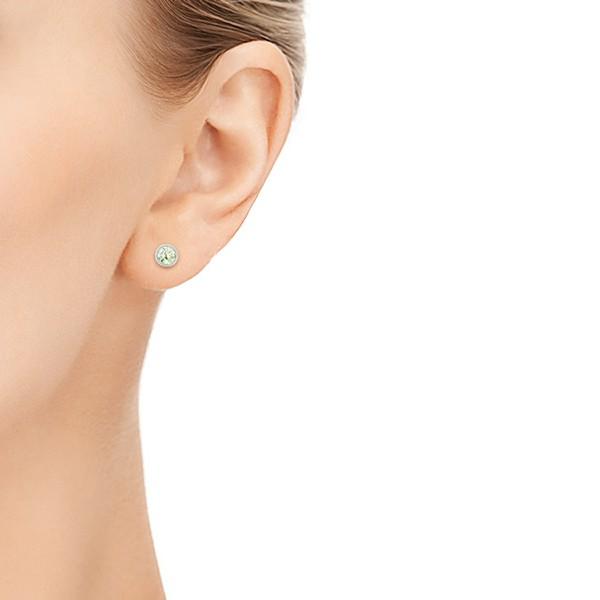 Green Quartz Stud Earrings - Model View
