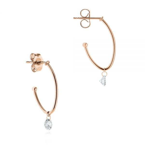 14k Rose Gold 14k Rose Gold Invisible Set Diamond Drop Earrings - Front View -  105224