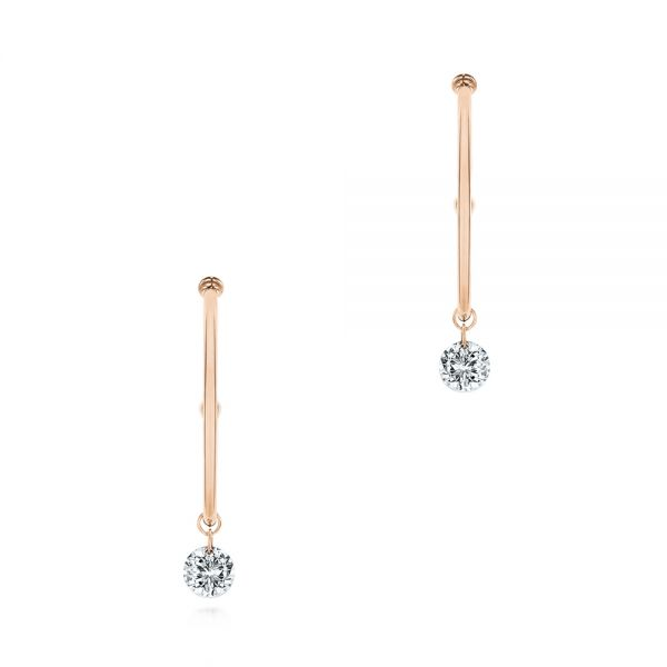 14k Rose Gold 14k Rose Gold Invisible Set Diamond Drop Earrings - Three-Quarter View -  105224