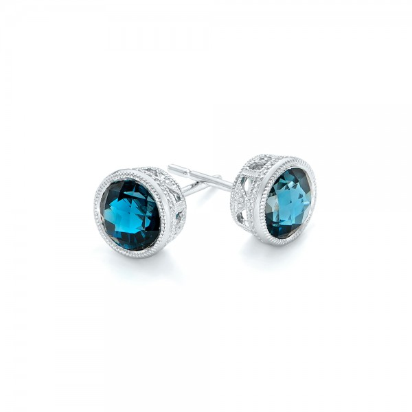 London Blue Topaz Stud Earrings - Flat View -  102662 - Thumbnail
