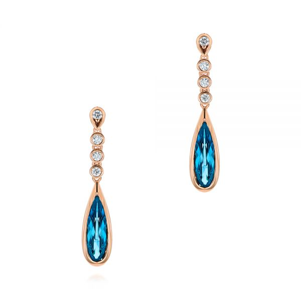 London Blue Topaz and Diamond Drop Earrings - Image