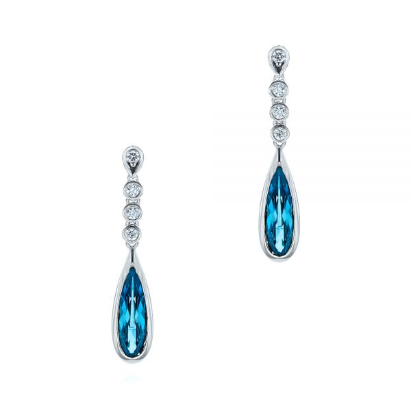 18k White Gold 18k White Gold London Blue Topaz And Diamond Drop Earrings - Three-Quarter View -  105397