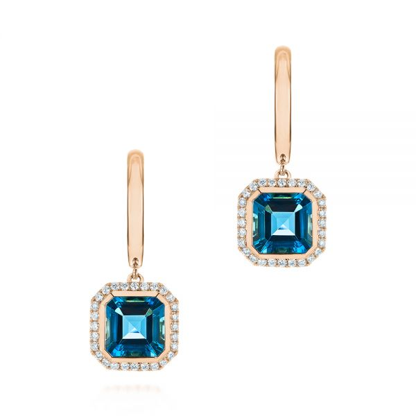 14k Rose Gold 14k Rose Gold London Blue Topaz And Diamond Halo Huggies - Three-Quarter View -