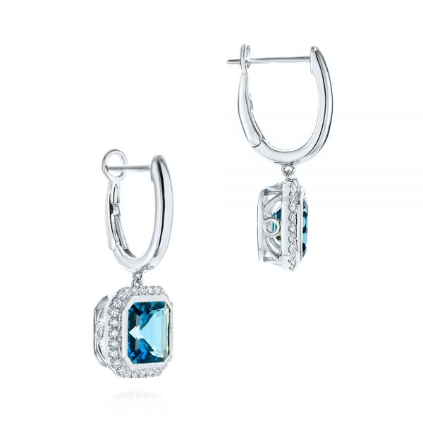 18k White Gold 18k White Gold London Blue Topaz And Diamond Halo Huggies - Front View -  105419 - Thumbnail