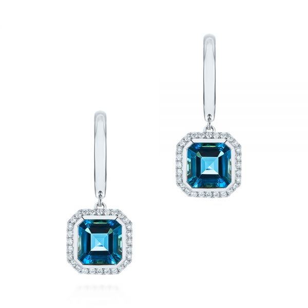 18k White Gold 18k White Gold London Blue Topaz And Diamond Halo Huggies - Three-Quarter View -  105419 - Thumbnail
