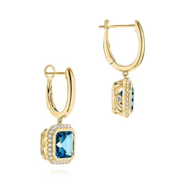 14k Yellow Gold London Blue Topaz And Diamond Halo Huggies - Front View -  105419