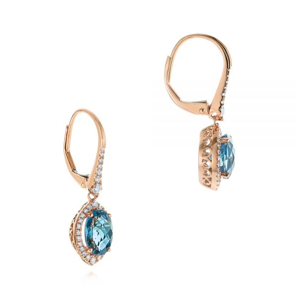 14k Rose Gold London Blue Topaz And Diamond Leverback Earrings - Front View -  105432