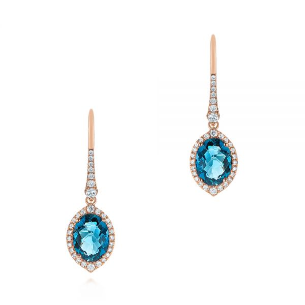 London Blue Topaz and Diamond Leverback Earrings - Image