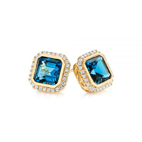 14k Yellow Gold London Blue Topaz And Diamond Stud Earrings - Front View -