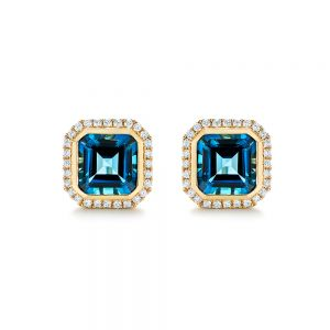 London Blue Topaz and Diamond Stud Earrings - Image