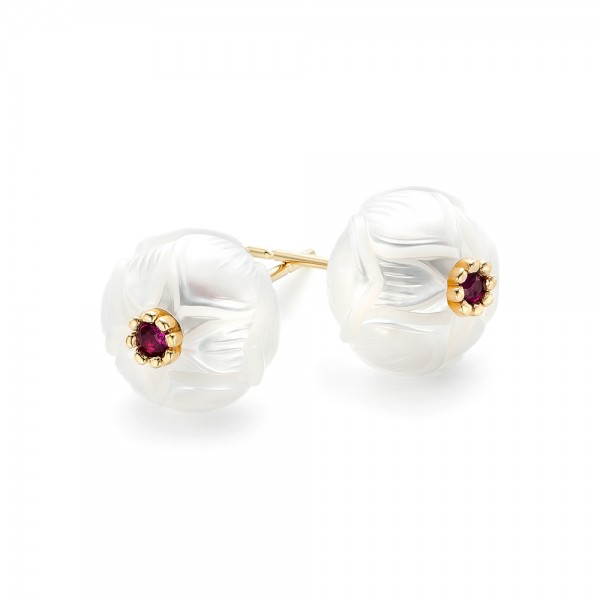 Lotus Fresh Water Carved Pearl and Ruby Earrings - Laying View