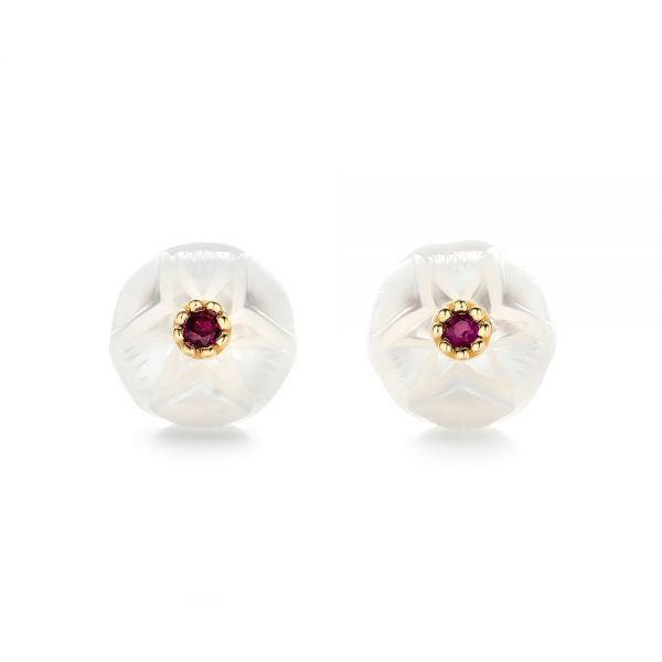 Lotus Fresh Water Carved Pearl and Ruby Earrings