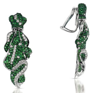 Micro-Pave Tsavorite and Diamond Earrings - Vanna K