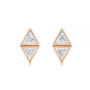 Modern Bezel Set Trillion Diamond Earrings - Image