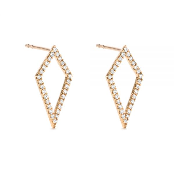 14k Rose Gold Modern Kite-shaped Diamond Earrings - Front View -  103777