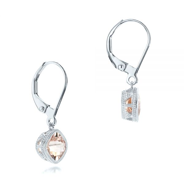 Morganite Drop Earrings - Front View -