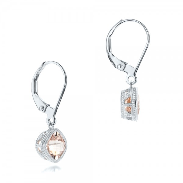 Morganite Drop Earrings - Laying View