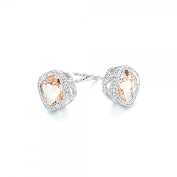 Morganite Stud Earrings - Flat View -  102644 - Thumbnail
