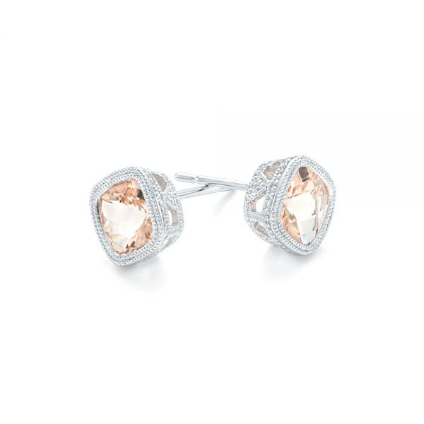 Morganite Stud Earrings - Front View -  102644 - Thumbnail