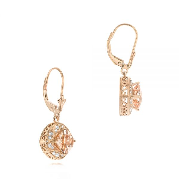 18k Rose Gold Morganite And Diamond Earrings - Front View -