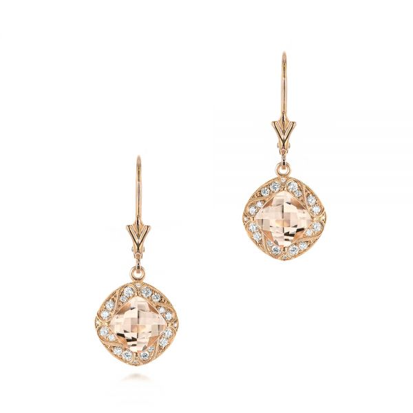 Morganite and Diamond Earrings - Image