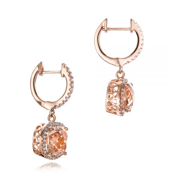 14k Rose Gold Morganite And Diamond Halo Earrings - Front View -  101017