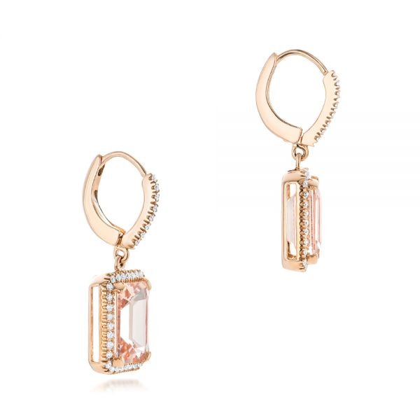 14k Rose Gold Morganite And Diamond Halo Earrings - Front View -  102775
