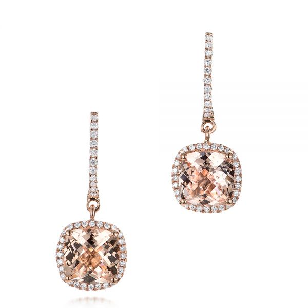14k Rose Gold Morganite And Diamond Halo Earrings - Three-Quarter View -  101017