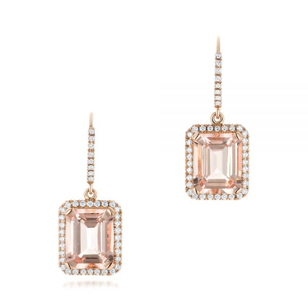 Morganite and Diamond Halo Earrings - Three-Quarter View -  102775 - Thumbnail