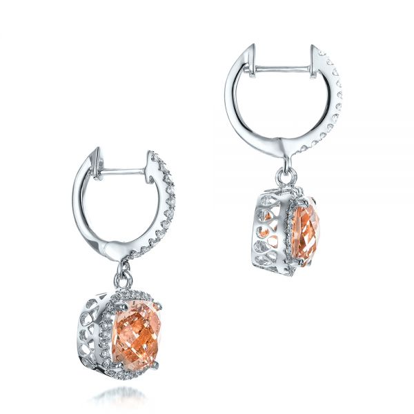 14k White Gold 14k White Gold Morganite And Diamond Halo Earrings - Front View -  101017
