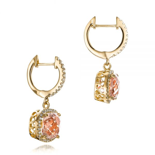 18k Yellow Gold 18k Yellow Gold Morganite And Diamond Halo Earrings - Front View -  101017