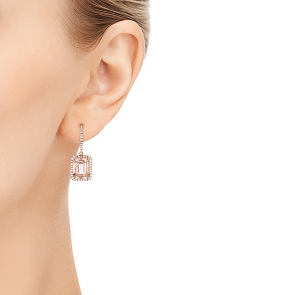 Morganite and Diamond Halo Earrings - Hand View -  102775 - Thumbnail