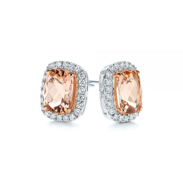 Morganite And Diamond Halo Two-tone Earrings - Front View -  106019