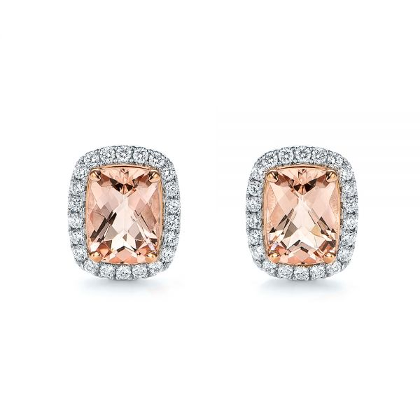Morganite And Diamond Halo Two-tone Earrings - Three-Quarter View -  106019