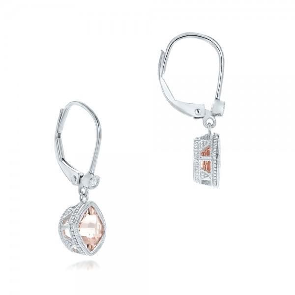 Morganite and Diamond Earrings - Laying View