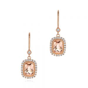 Morganite and Diamond Leverback Earrings - Image