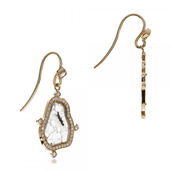Natural Diamond Slice Earrings - Laying View