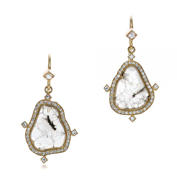 Natural Diamond Slice Earrings - Three-Quarter View -