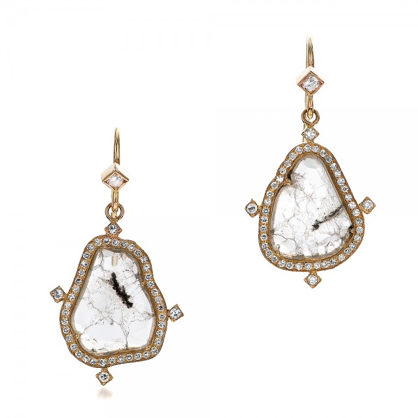 Natural Diamond Slice Earrings