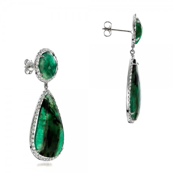 Natural Emerald Slices and Diamond Drop Earrings - Flat View -  100827 - Thumbnail