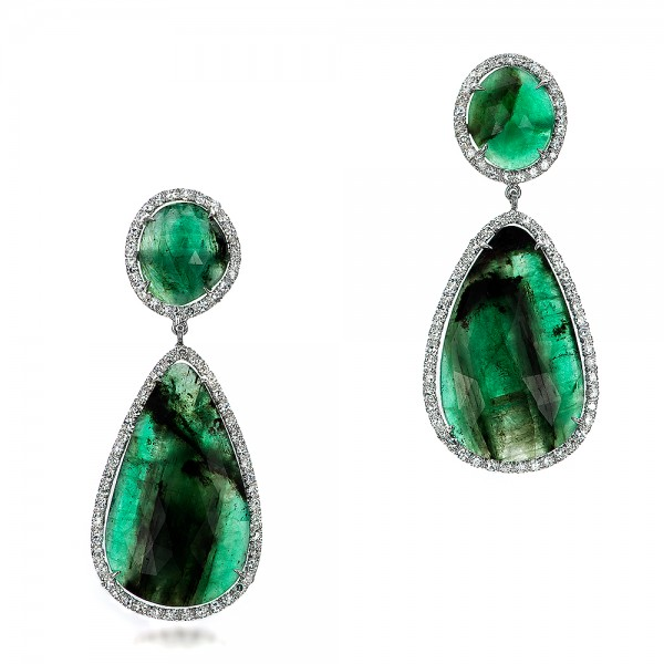 Natural Emerald Slices and Diamond Drop Earrings