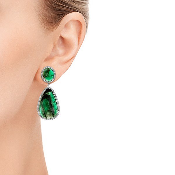 Natural Emerald Slices and Diamond Drop Earrings - Hand View -  100827 - Thumbnail