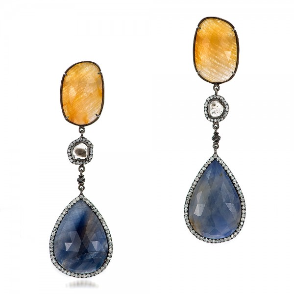 Natural Sapphire Slices and Diamond Drop Earrings