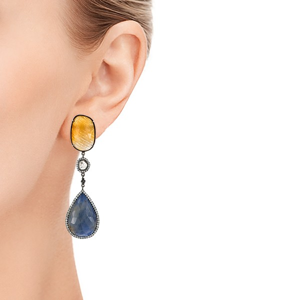Natural Sapphire Slices and Diamond Drop Earrings - Model View